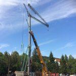 Samoskladací žeriav Cattaneo CM 82 S4 - rekonštrukcia hotela Harmónia v Modre | TOP CRANES