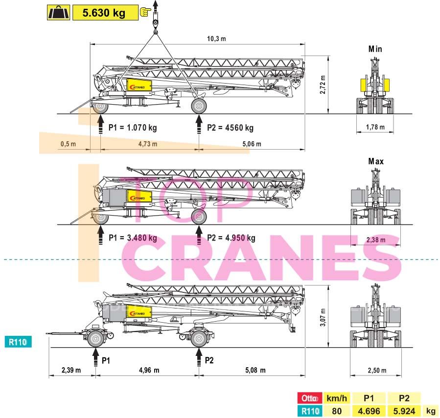 Stavebný žeriav Cattaneo CM 190 - preprava | TOP CRANES