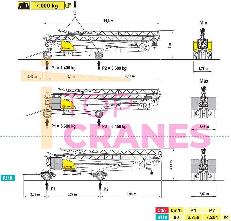 Stavebný žeriav Cattaneo CM 220 - preprava | TOP CRANES