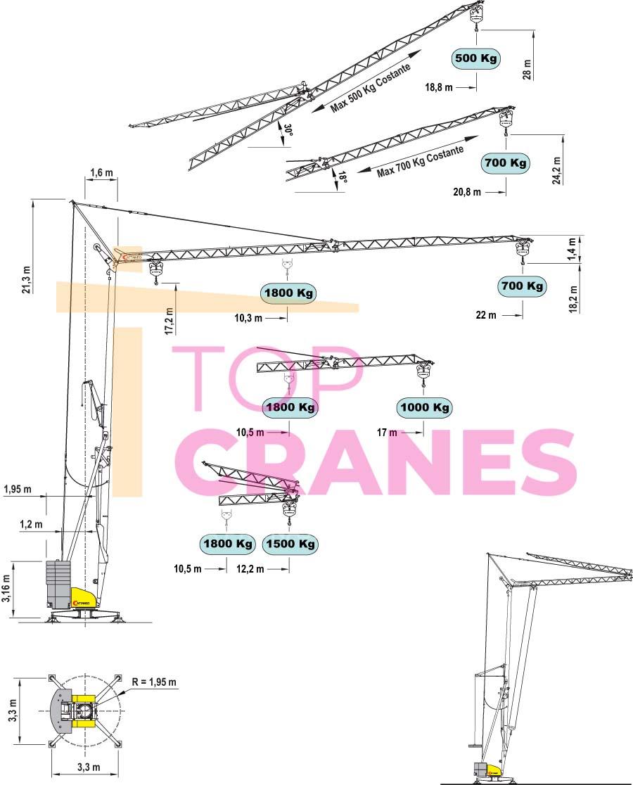 Stavebný žeriav Cattaneo CM 220 - zaťaženie výšky | TOP CRANES