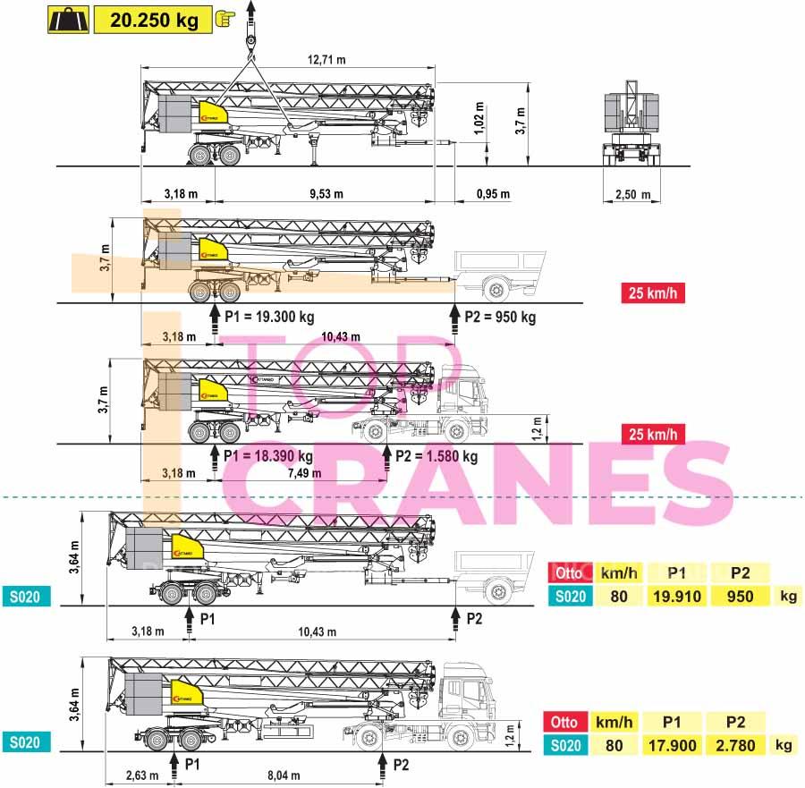Stavebný žeriav Cattaneo CM 271 - preprava   TOP CRANES