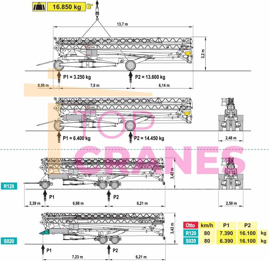 Stavebný žeriav Cattaneo CM 371 - preprava | TOP CRANES