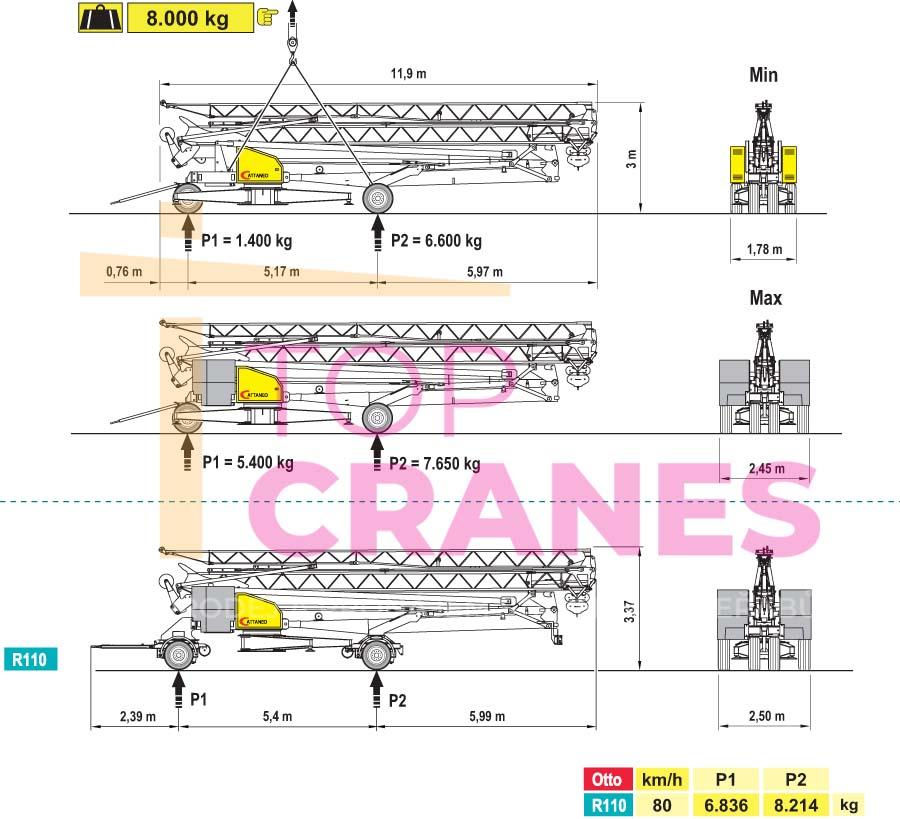 Stavebný žeriav Cattaneo CM 71A - preprava   TOP CRANES