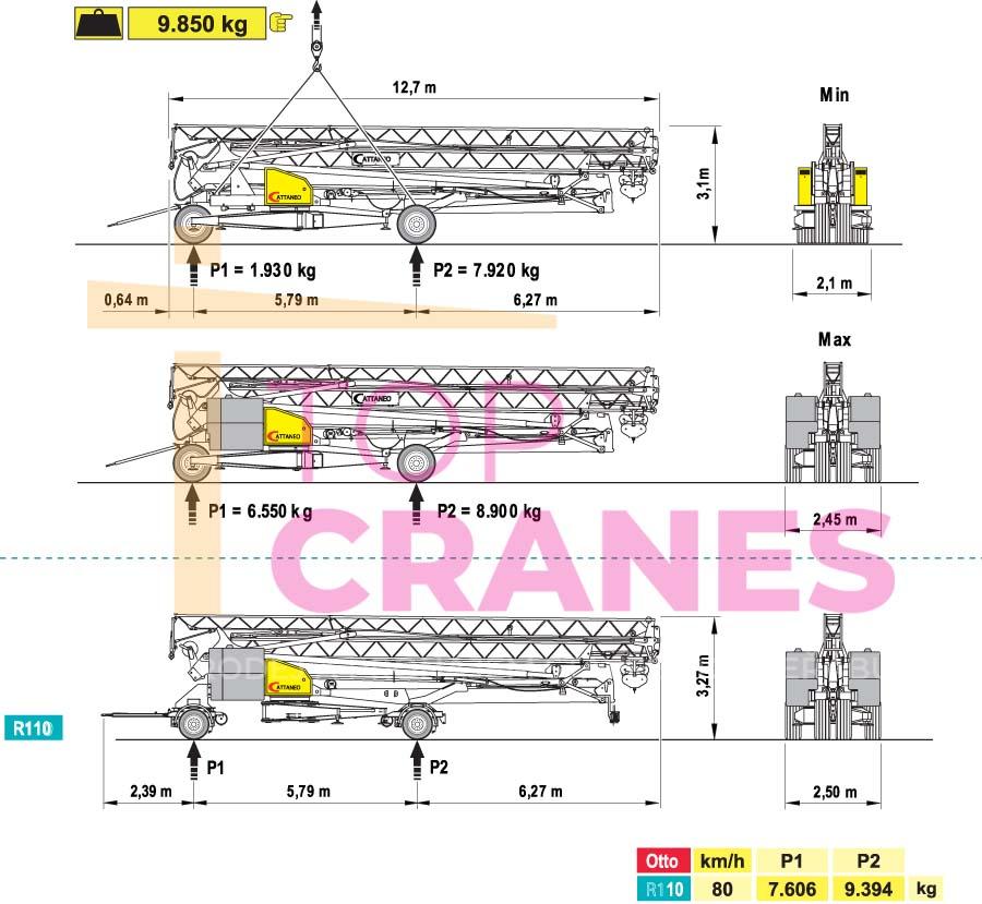 Stavebný žeriav Cattaneo CM 76B - preprava | TOP CRANES