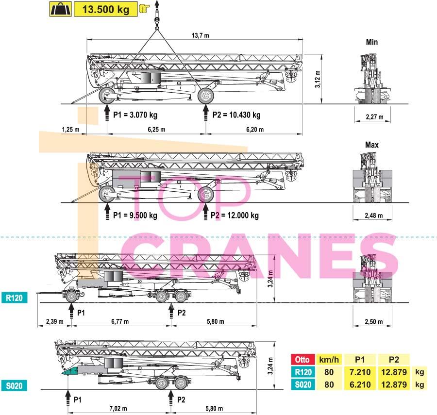 Stavebný žeriav Cattaneo CM 82S4 - preprava   TOP CRANES