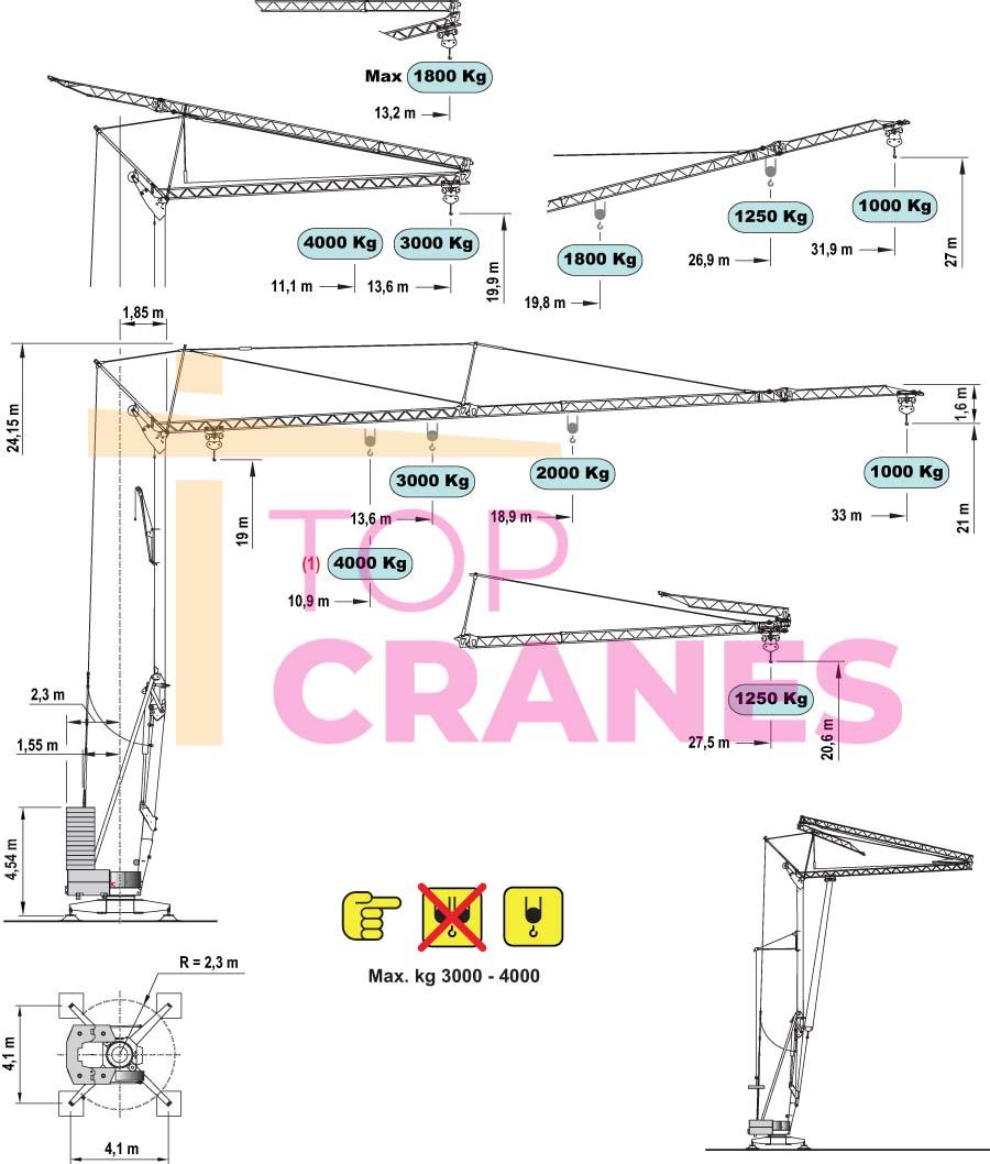 Stavebný žeriav Cattaneo CM 82S4 - zaťaženie výšky   TOP CRANES